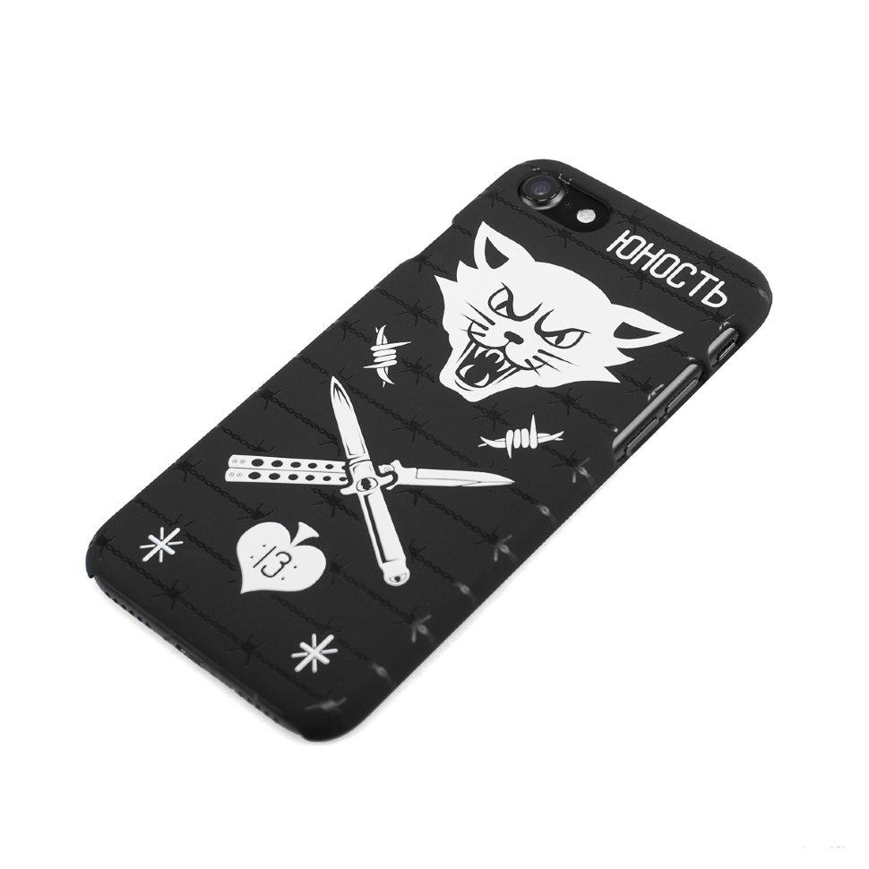 Чехол ЮНОСТЬ «Кот» (Черный, Пластик Soft Touch, 6/6S Plus)