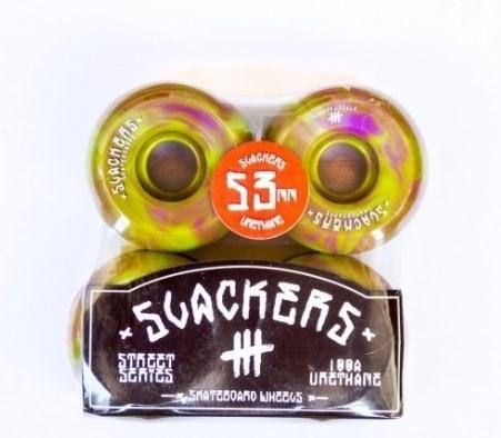 "Колеса SLACKERS street series ""stoner"" лайм и фиолетовый, 100А/53мм"