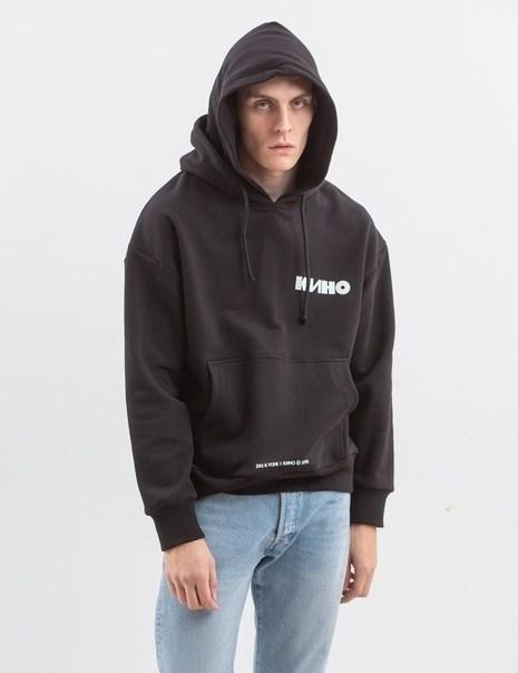 Толстовка с двойным капюшоном ZIQ & YONI x КИНО черная - фото 10162