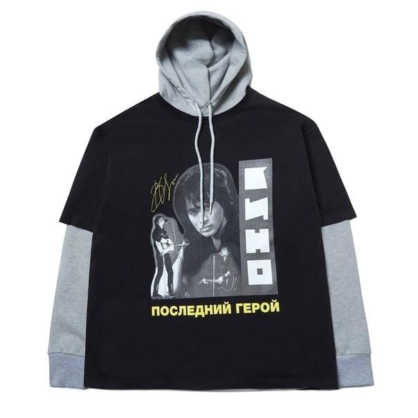 Толстовка с футболкой ZIQ & YONI x КИНО черная/серая - фото 10165