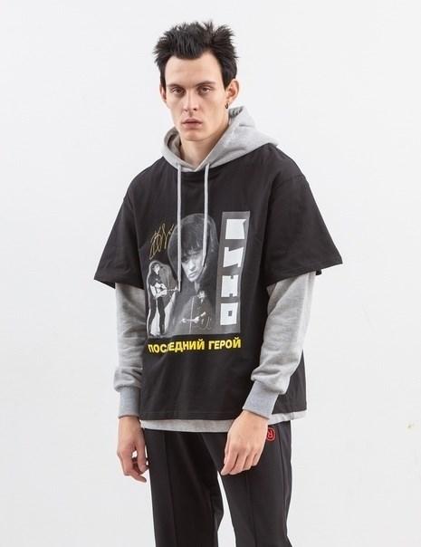 Толстовка с футболкой ZIQ & YONI x КИНО черная/серая - фото 10166