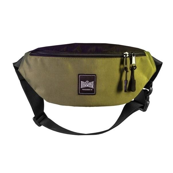 """Поясная сумка """"Тайна"""" Colorblock Хаки-черный таслон - фото 14512"""