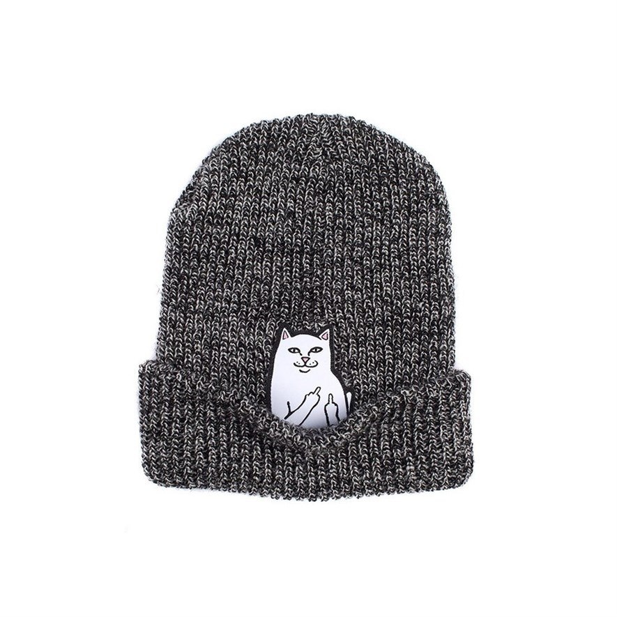 RIPNDIP Шапка Lord Nermal Knit Beanie Gray Speckled - фото 6604