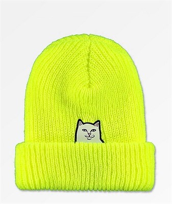 RIPNDIP Шапка Lord Nermal Rib Beanie Saferty Yellow