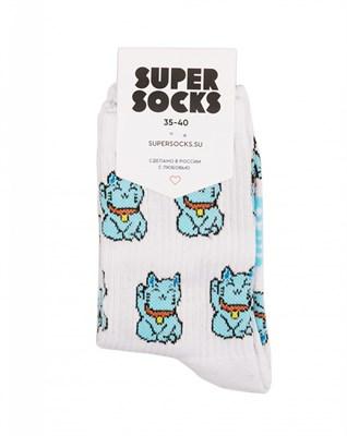 Носки SUPER SOCKS Манэки-нэко восточный кот ((40-45), Белый )