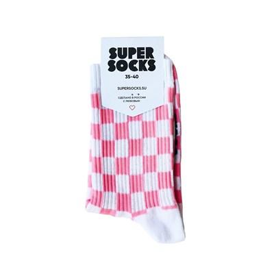 Носки SUPER SOCKS Шахматы (35-40, Розовый )