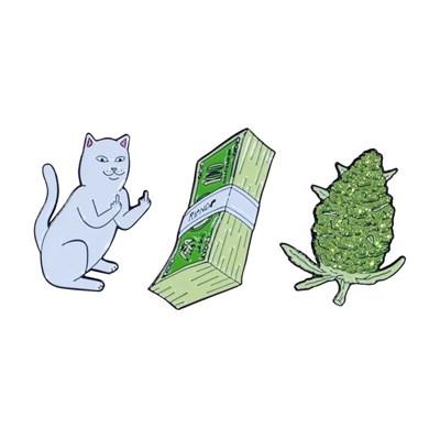 Значок Ripndip Pu$$y, Money, Weed Pin (set of 3)