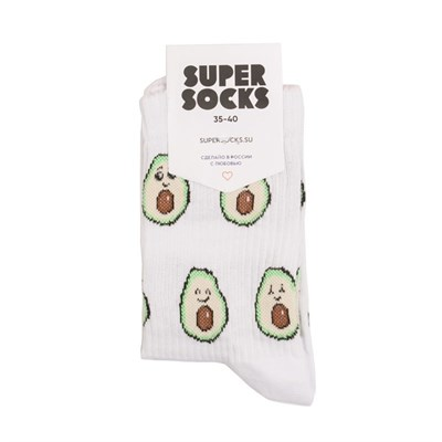 Носки SUPER SOCKS Авокадо ((35-40), Белый )