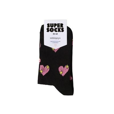 Носки SUPER SOCKS Сердечко Паттерн (Размер носков 35-40, ЦВЕТ Черный )