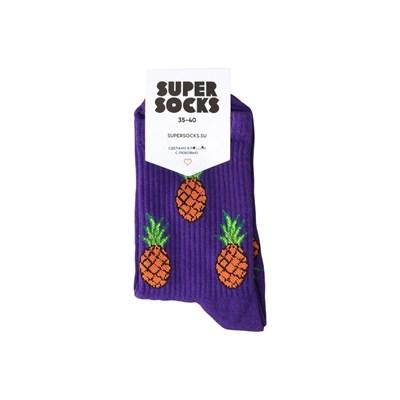 Носки SUPER SOCKS Ананас Паттерн (Размер носков 35-40, ЦВЕТ Фиолетовый )