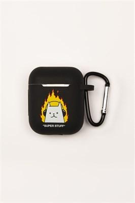 Чехол для наушников SUPER STUFF Кот в огне (Черный )