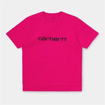 Carhartt WIP Футболка S/S Script T-Shirt RUBY PINK / BLACK.