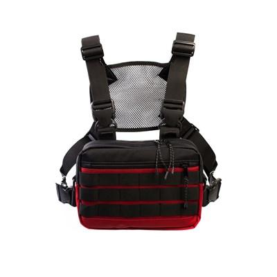 Нагрудная сумка ТАЙНА таслан красная/черная