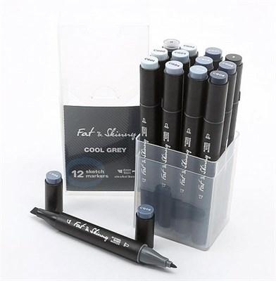 Набор скетч-маркеров Fat&Skinny Cool Grey  12 шт
