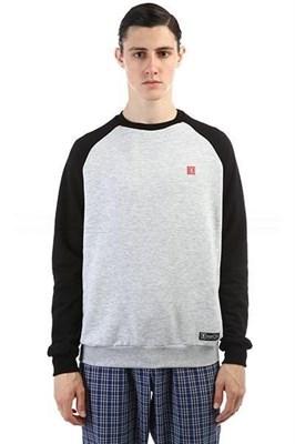 Юнион Свитшот Origin, цвет серый меланж с черным рукавом, 100% хлопок