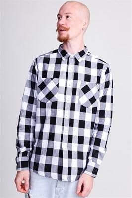 Рубашка URBAN CLASSICS Checked Flanell Shirt Black/White