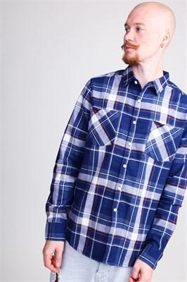 Рубашка URBAN CLASSICS Check Shirt Indigo/White/Red/Goldenoak