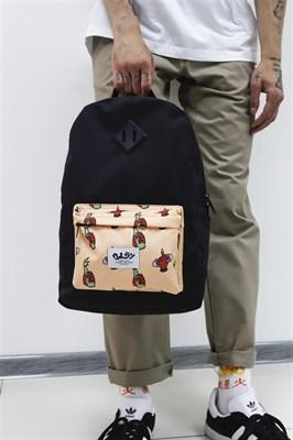Рюкзак Travel Fuck Skate biege pocket black