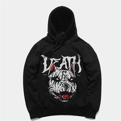 """Худи КУЛЬТУРА oversize """"Death"""", с начесом, черный"""