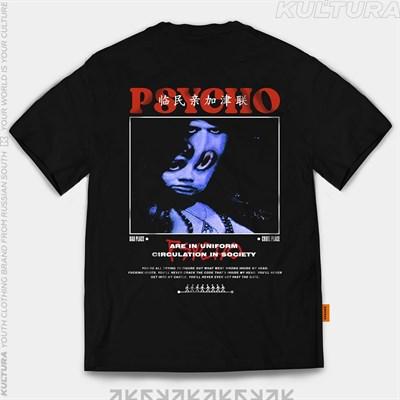 """Футболка КУЛЬТУРА oversize """"Psycho"""", черный"""